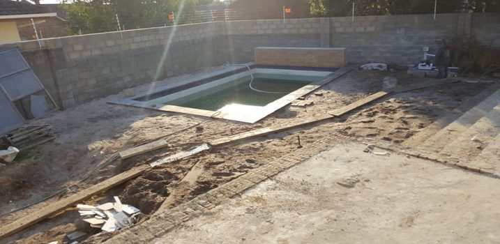 Before - pool coping and paving